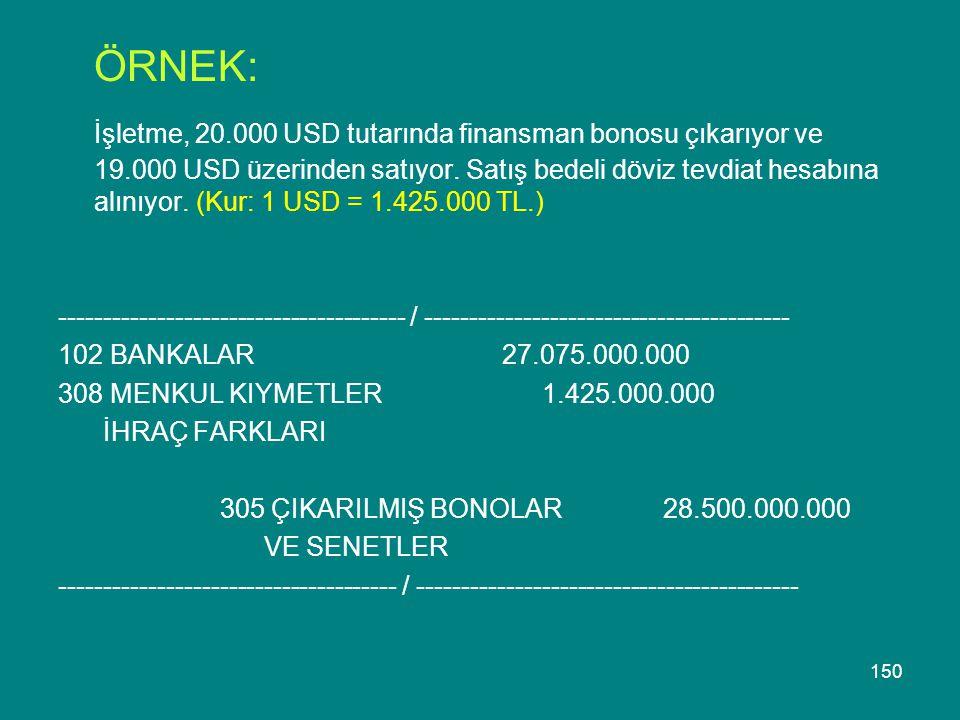 150 ÖRNEK: İşletme, 20.000 USD tutarında finansman bonosu çıkarıyor ve 19.000 USD üzerinden satıyor. Satış bedeli döviz tevdiat hesabına alınıyor. (Ku