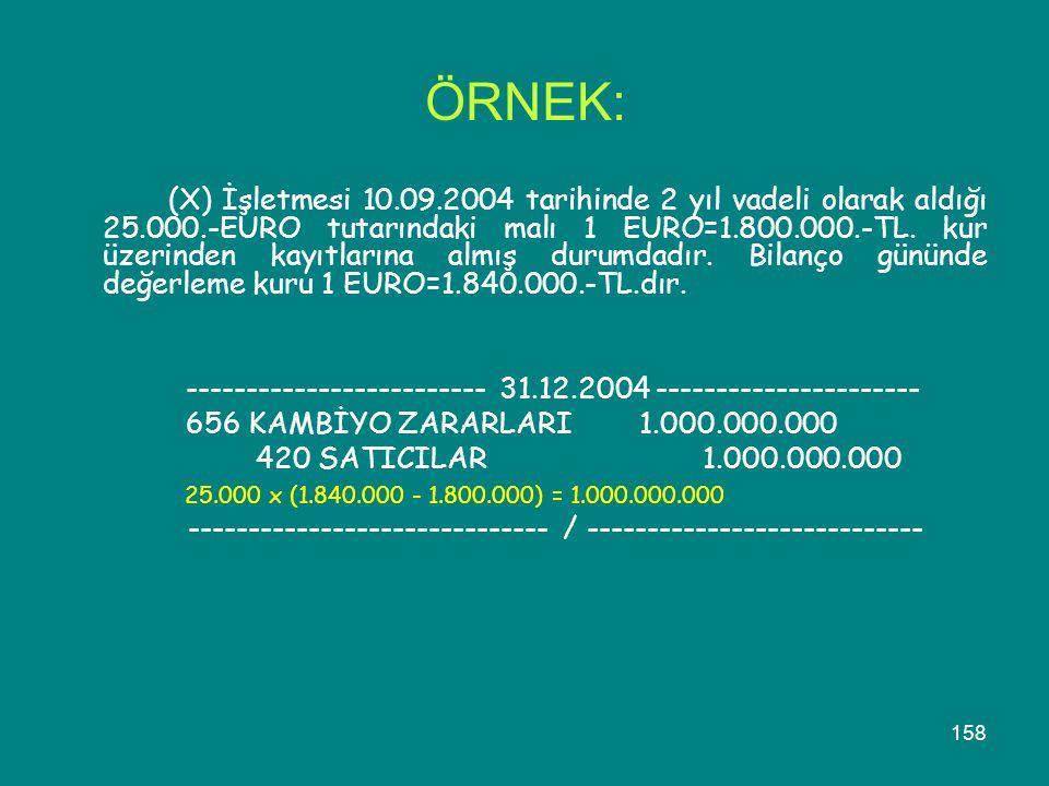 158 ÖRNEK: (X) İşletmesi 10.09.2004 tarihinde 2 yıl vadeli olarak aldığı 25.000.-EURO tutarındaki malı 1 EURO=1.800.000.-TL. kur üzerinden kayıtlarına