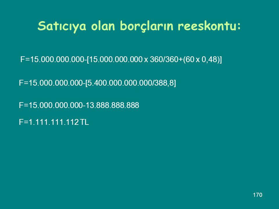 170 Satıcıya olan borçların reeskontu: F=15.000.000.000-[15.000.000.000 x 360/360+(60 x 0,48)] F=15.000.000.000-[5.400.000.000.000/388,8] F=15.000.000