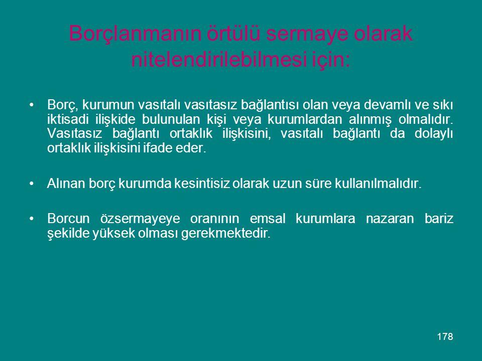 178 Borçlanmanın örtülü sermaye olarak nitelendirilebilmesi için: •Borç, kurumun vasıtalı vasıtasız bağlantısı olan veya devamlı ve sıkı iktisadi iliş