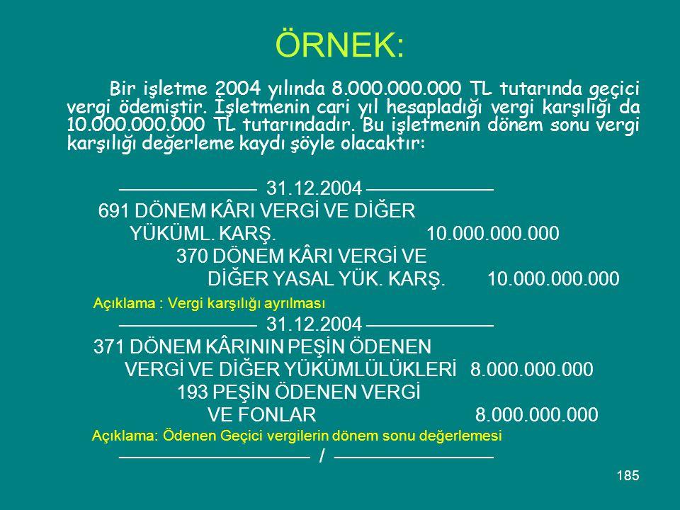 185 ÖRNEK: Bir işletme 2004 yılında 8.000.000.000 TL tutarında geçici vergi ödemiştir. İşletmenin cari yıl hesapladığı vergi karşılığı da 10.000.000.0