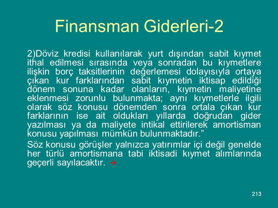 213 Finansman Giderleri-2 2)Döviz kredisi kullanılarak yurt dışından sabit kıymet ithal edilmesi sırasında veya sonradan bu kıymetlere ilişkin borç ta
