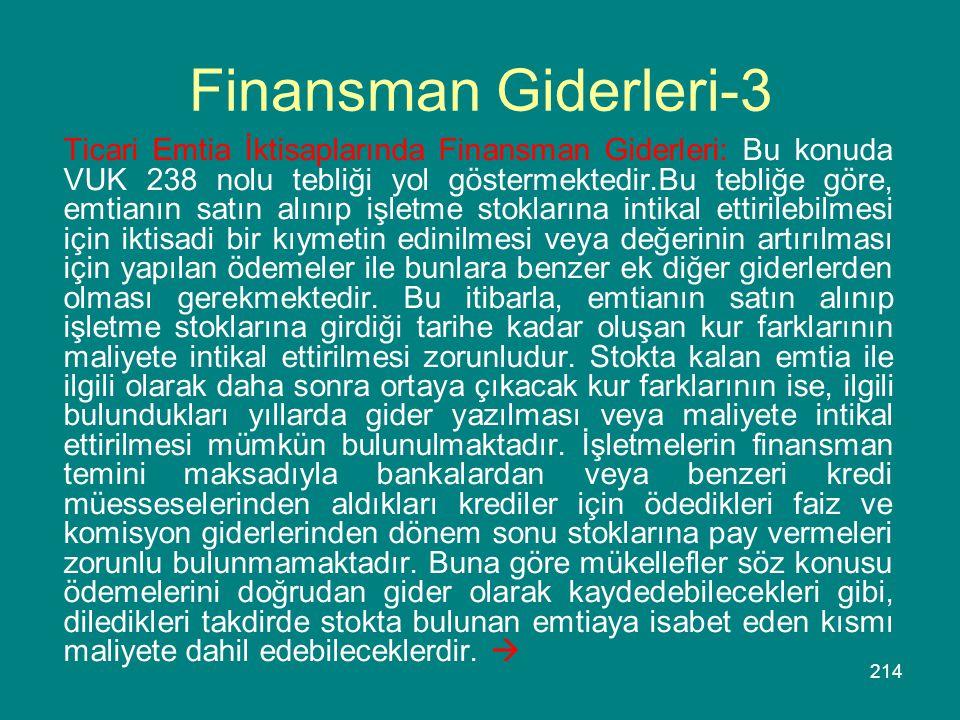 214 Finansman Giderleri-3 Ticari Emtia İktisaplarında Finansman Giderleri: Bu konuda VUK 238 nolu tebliği yol göstermektedir.Bu tebliğe göre, emtianın