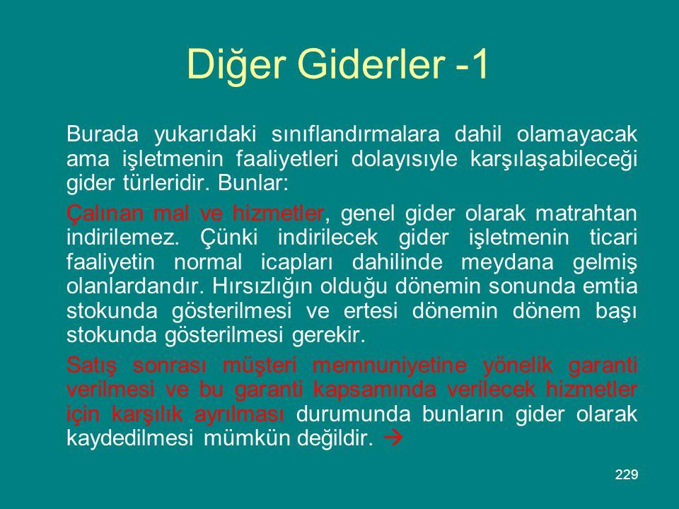 229 Diğer Giderler -1 Burada yukarıdaki sınıflandırmalara dahil olamayacak ama işletmenin faaliyetleri dolayısıyle karşılaşabileceği gider türleridir.