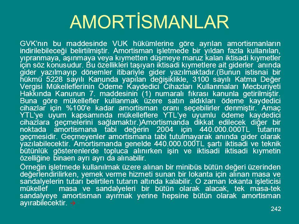 242 AMORTİSMANLAR GVK'nın bu maddesinde VUK hükümlerine göre ayrılan amortismanların indirilebileceği belirtilmiştir. Amortisman işletmede bir yıldan