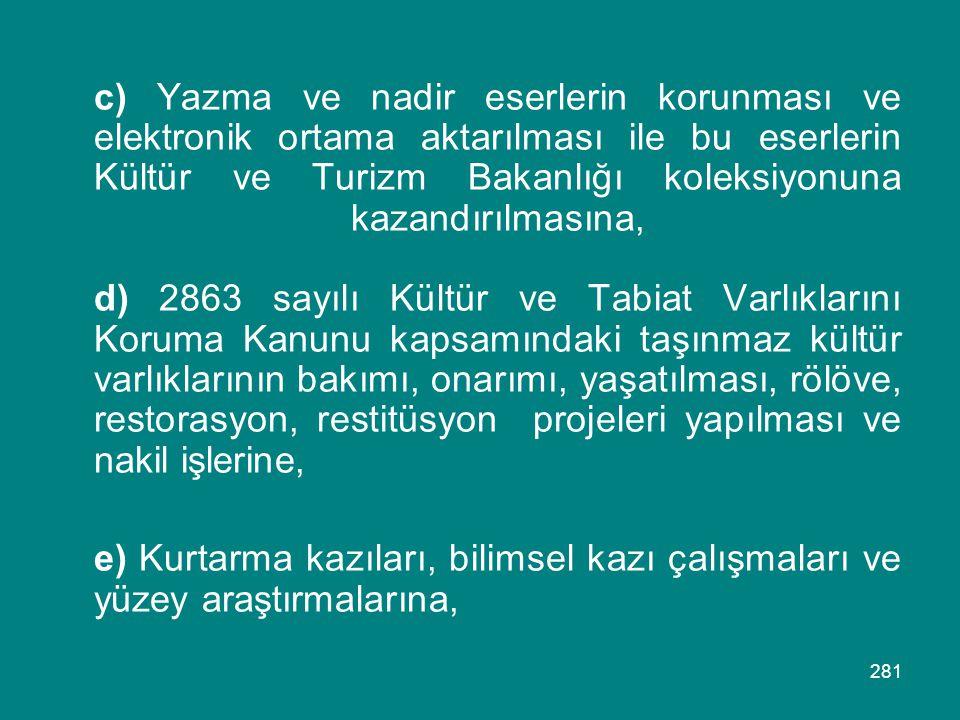 281 c) Yazma ve nadir eserlerin korunması ve elektronik ortama aktarılması ile bu eserlerin Kültür ve Turizm Bakanlığı koleksiyonuna kazandırılmasına,