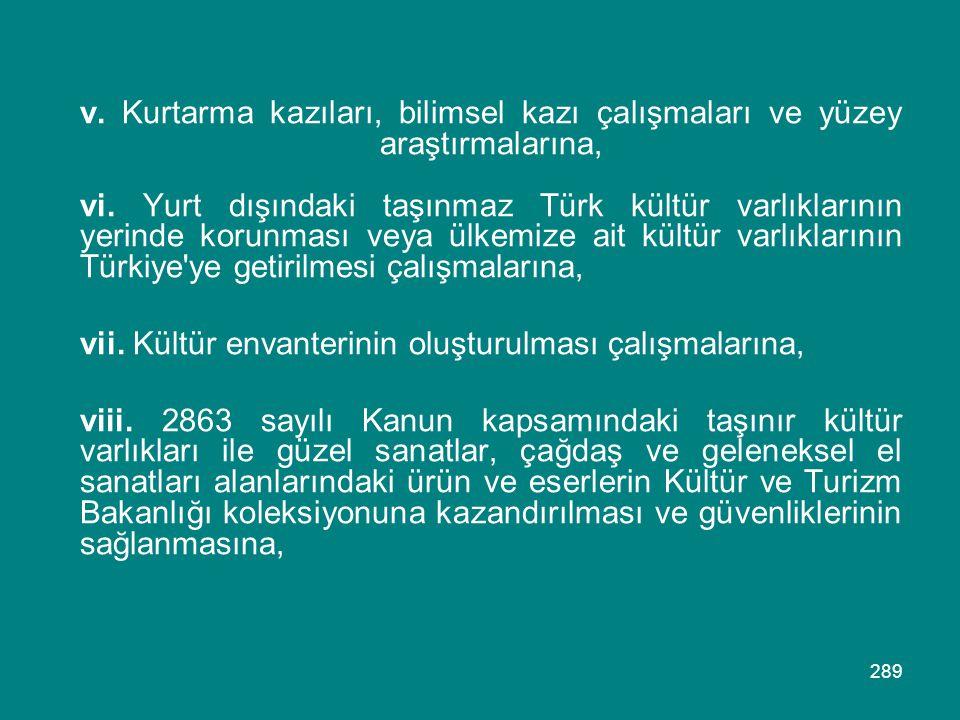 289 v. Kurtarma kazıları, bilimsel kazı çalışmaları ve yüzey araştırmalarına, vi. Yurt dışındaki taşınmaz Türk kültür varlıklarının yerinde korunması