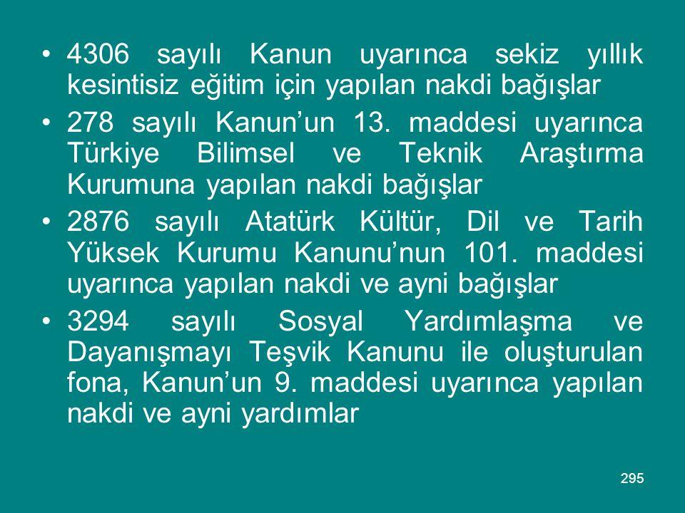 295 •4306 sayılı Kanun uyarınca sekiz yıllık kesintisiz eğitim için yapılan nakdi bağışlar •278 sayılı Kanun'un 13. maddesi uyarınca Türkiye Bilimsel