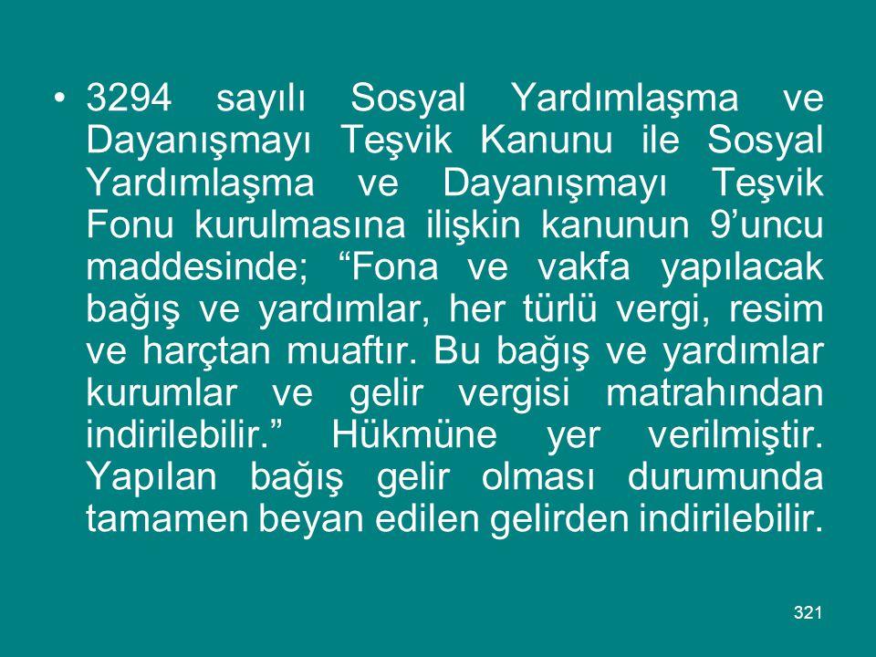 321 •3294 sayılı Sosyal Yardımlaşma ve Dayanışmayı Teşvik Kanunu ile Sosyal Yardımlaşma ve Dayanışmayı Teşvik Fonu kurulmasına ilişkin kanunun 9'uncu