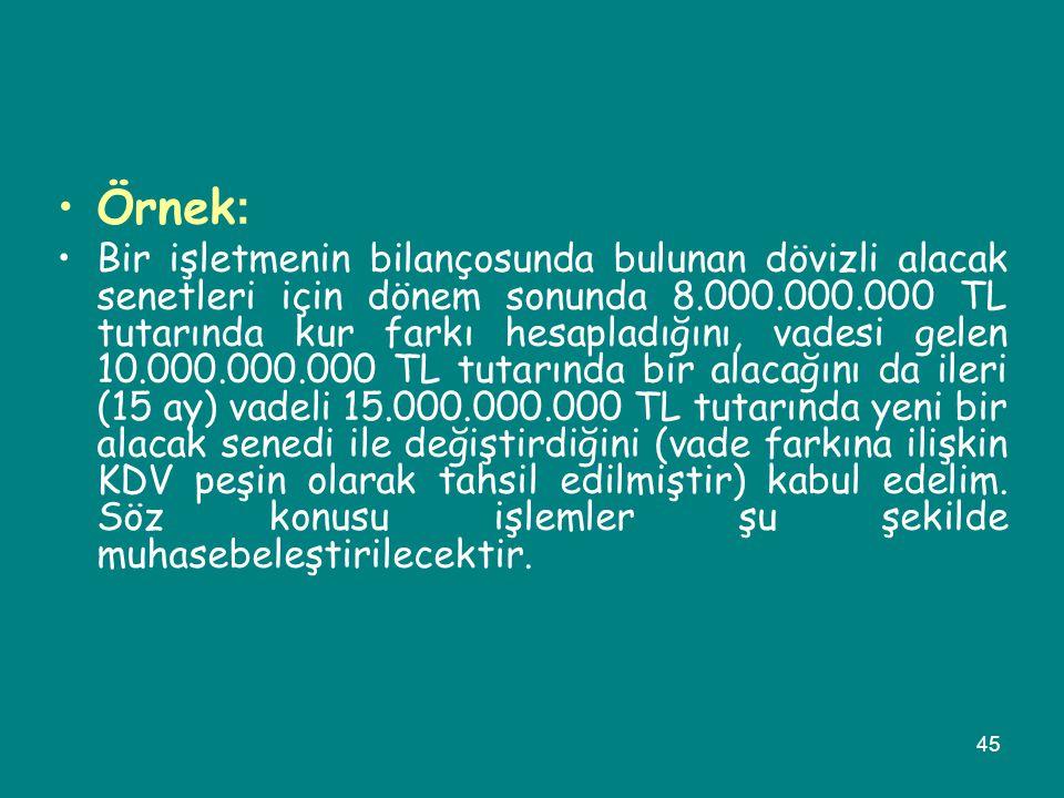 45 •Örnek : •Bir işletmenin bilançosunda bulunan dövizli alacak senetleri için dönem sonunda 8.000.000.000 TL tutarında kur farkı hesapladığını, vades