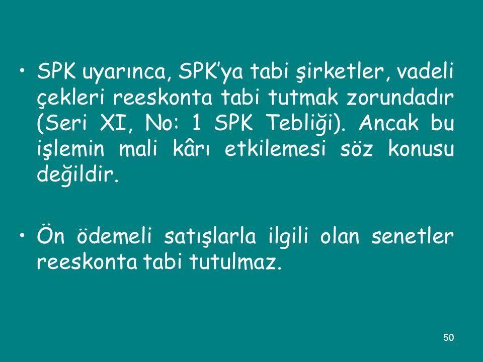 50 •SPK uyarınca, SPK'ya tabi şirketler, vadeli çekleri reeskonta tabi tutmak zorundadır (Seri XI, No: 1 SPK Tebliği). Ancak bu işlemin mali kârı etki