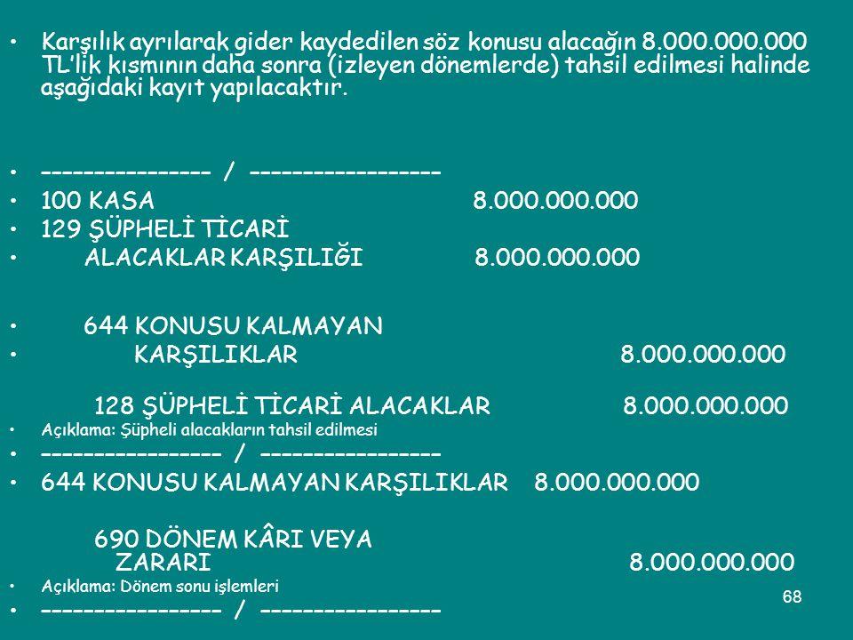 68 •Karşılık ayrılarak gider kaydedilen söz konusu alacağın 8.000.000.000 TL'lik kısmının daha sonra (izleyen dönemlerde) tahsil edilmesi halinde aşağ