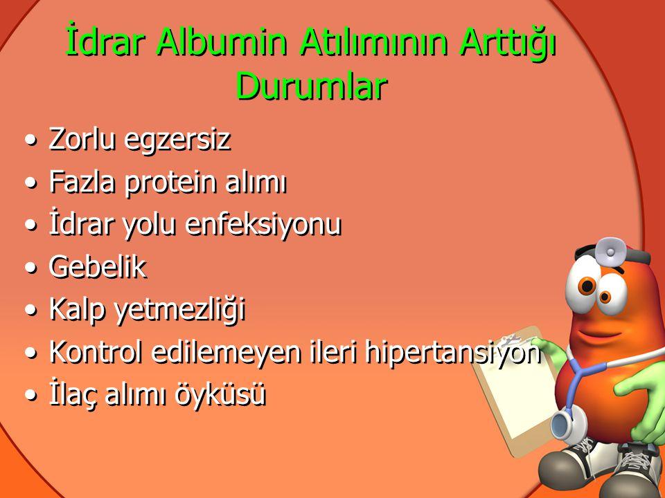 Tipik Diyabetik Nefropati •Tip 1 DM>10 yıl •Retinopati varlığı(nefropatiye paralel) •Önceki albuminüri varlığı •Makroskobik hematüri yok •Eritrosit silendiri yok •Normal böbrek USG •Böbrek biopsisi gerekmez