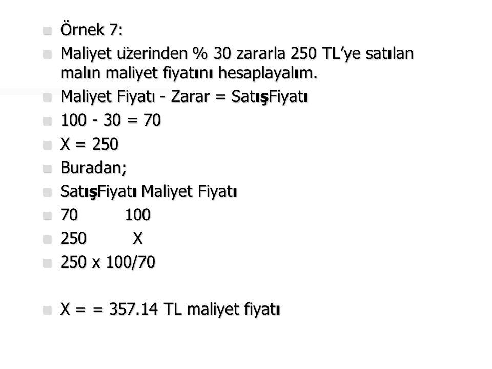  Örnek 8:  Maliyet fiyatı 230 TL olan mal, maliyet üzerinden % 20 zararla satılmıştır.