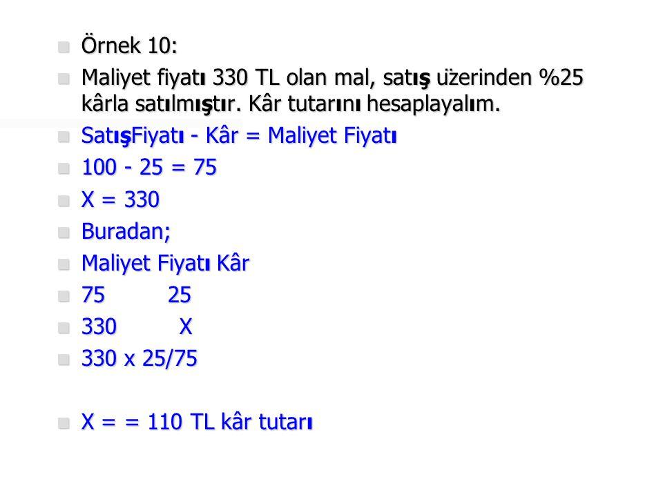  Örnek 11:  Maliyet fiyatı 800 TL olan mal, satış üzerinden %20 zararla satılmıştır.
