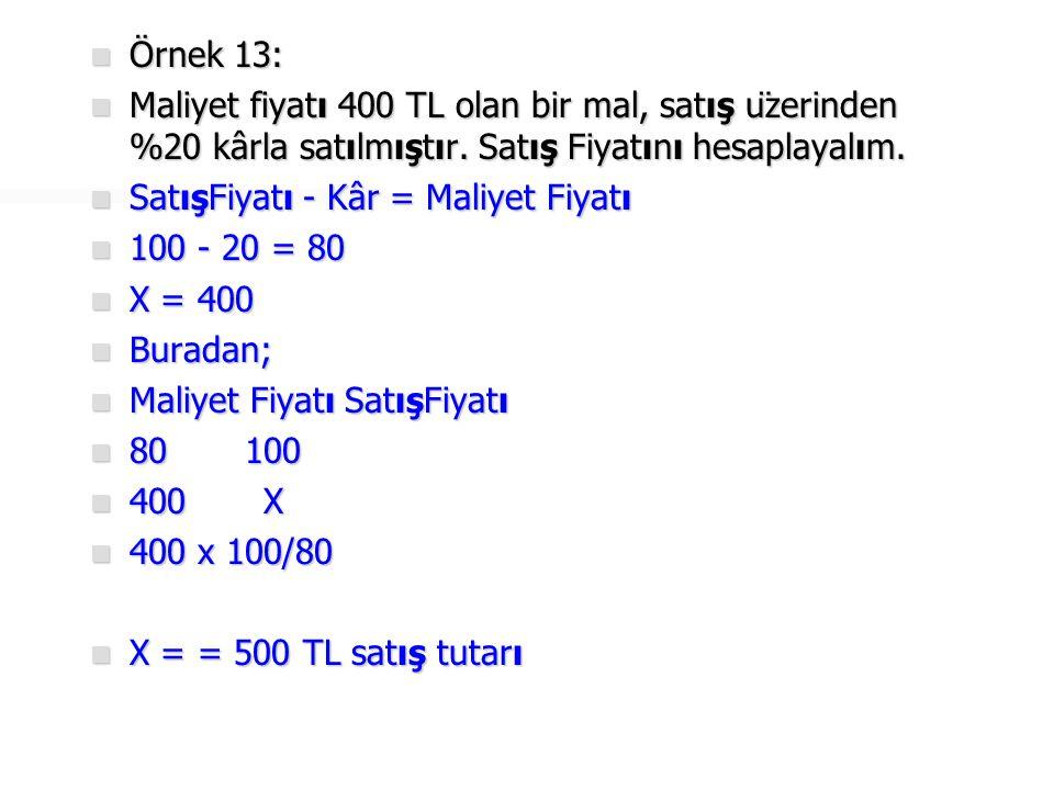  Örnek 14:  Satış üzerinden %15 kârla 350 TL'ye satılan malın maliyet fiyatını hesaplayalım.