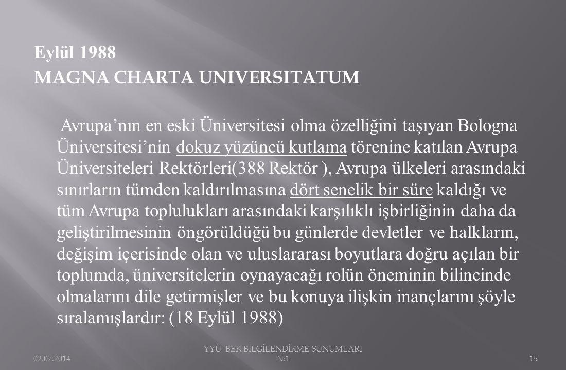 Eylül 1988 MAGNA CHARTA UNIVERSITATUM Avrupa'nın en eski Üniversitesi olma özelliğini taşıyan Bologna Üniversitesi'nin dokuz yüzüncü kutlama törenine