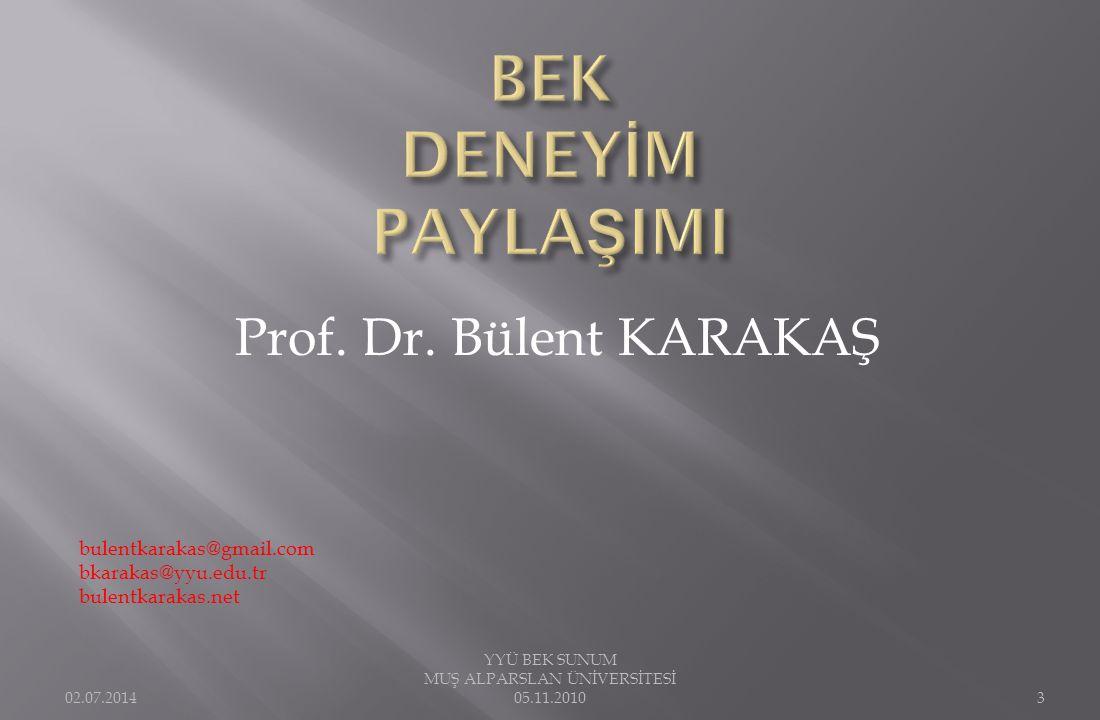 Prof. Dr. Bülent KARAKAŞ bulentkarakas@gmail.com bkarakas@yyu.edu.tr bulentkarakas.net 02.07.2014 YYÜ BEK SUNUM MUŞ ALPARSLAN ÜNİVERSİTESİ 05.11.20103