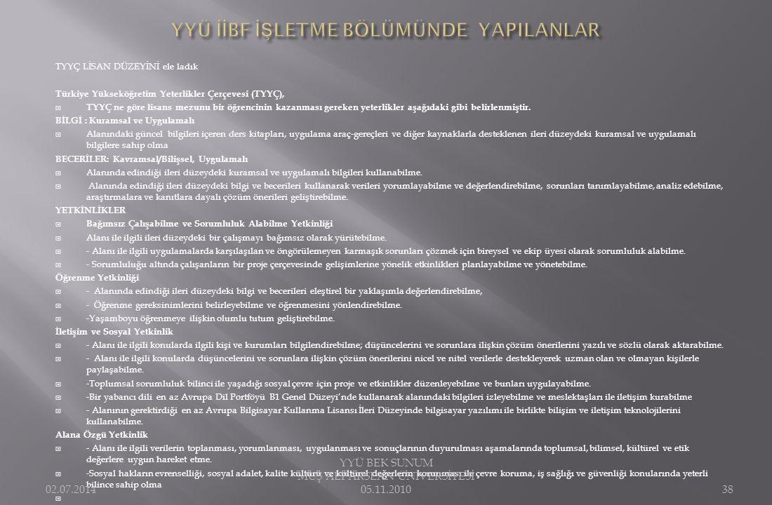 TYYÇ LİSAN DÜZEYİNİ ele ladık Türkiye Yükseköğretim Yeterlikler Çerçevesi (TYYÇ),  TYYÇ ne göre lisans mezunu bir öğrencinin kazanması gereken yeterl
