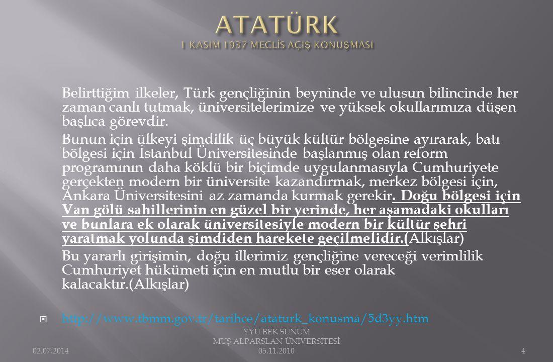 Belirttiğim ilkeler, Türk gençliğinin beyninde ve ulusun bilincinde her zaman canlı tutmak, üniversitelerimize ve yüksek okullarımıza düşen başlıca gö