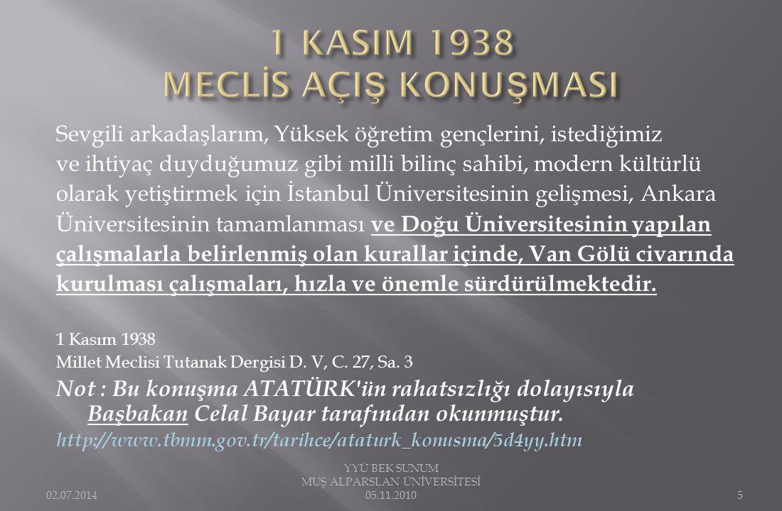 1 KASIM 1937 DE VASİYET EDİLEN ÜNİVERSİTEMİZ 1982 DE KURULDU.