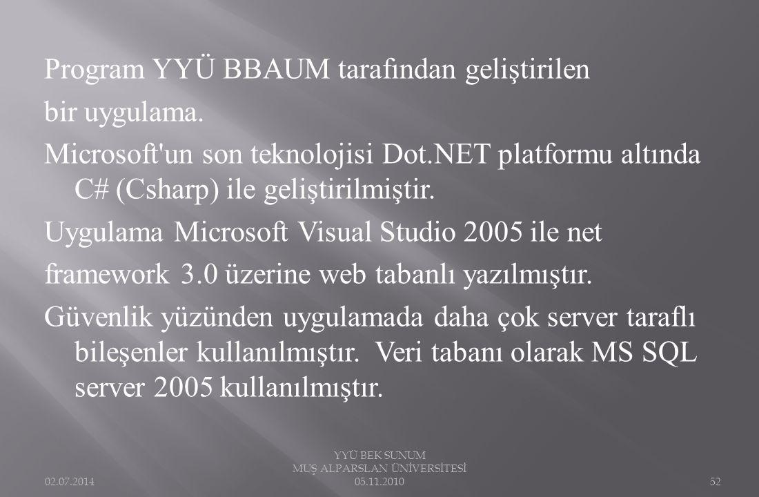 Program YYÜ BBAUM tarafından geliştirilen bir uygulama. Microsoft'un son teknolojisi Dot.NET platformu altında C# (Csharp) ile geliştirilmiştir. Uygul