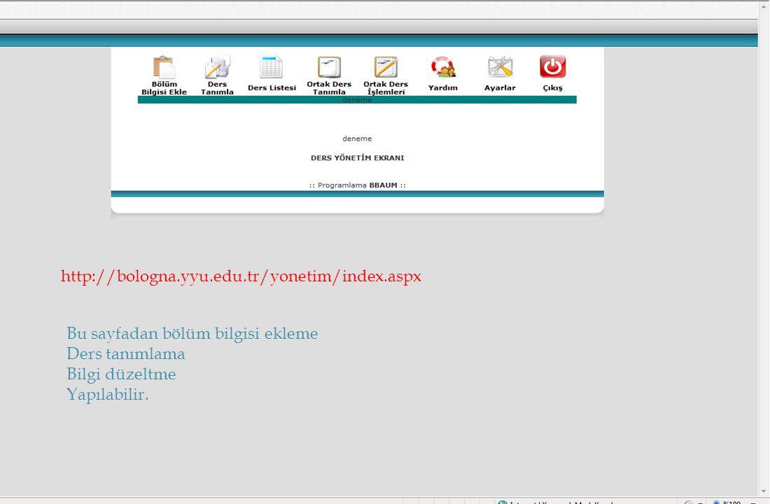 02.07.2014 YYÜ BEK SUNUM MUŞ ALPARSLAN ÜNİVERSİTESİ 05.11.201056 http://bologna.yyu.edu.tr/yonetim/index.aspx Bu sayfadan bölüm bilgisi ekleme Ders ta