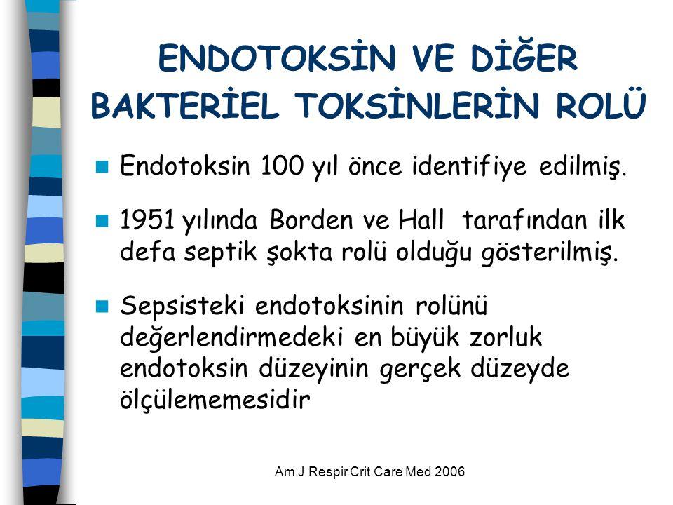 Am J Respir Crit Care Med 2006 ENDOTOKSİN VE DİĞER BAKTERİEL TOKSİNLERİN ROLÜ  Endotoksin 100 yıl önce identifiye edilmiş.  1951 yılında Borden ve H