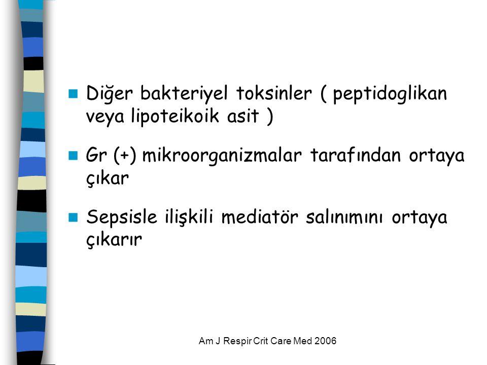 Am J Respir Crit Care Med 2006  Diğer bakteriyel toksinler ( peptidoglikan veya lipoteikoik asit )  Gr (+) mikroorganizmalar tarafından ortaya çıkar
