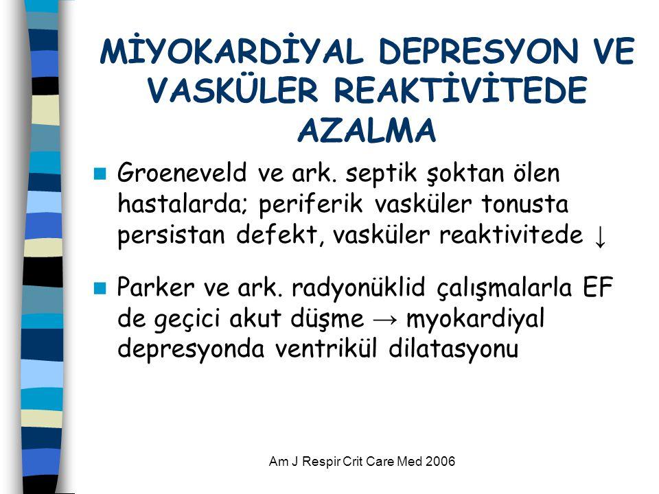 Am J Respir Crit Care Med 2006 MİYOKARDİYAL DEPRESYON VE VASKÜLER REAKTİVİTEDE AZALMA  Groeneveld ve ark. septik şoktan ölen hastalarda; periferik va