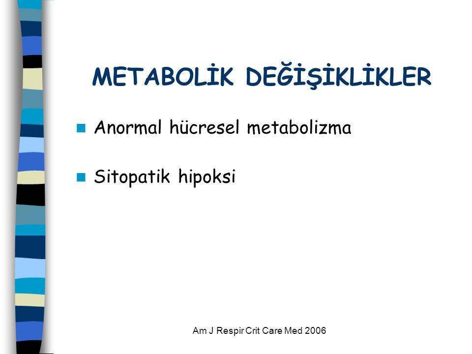 Am J Respir Crit Care Med 2006 METABOLİK DEĞİŞİKLİKLER  Anormal hücresel metabolizma  Sitopatik hipoksi
