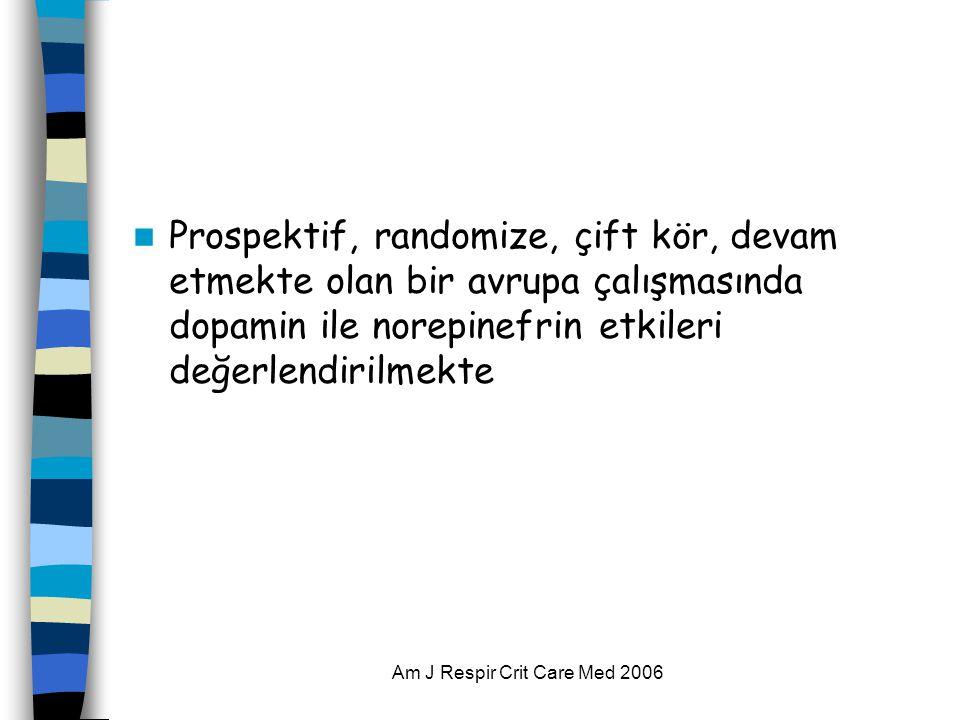 Am J Respir Crit Care Med 2006  Prospektif, randomize, çift kör, devam etmekte olan bir avrupa çalışmasında dopamin ile norepinefrin etkileri değerlendirilmekte
