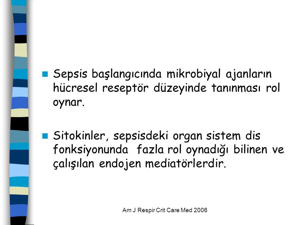 Am J Respir Crit Care Med 2006  Sepsis başlangıcında mikrobiyal ajanların hücresel reseptör düzeyinde tanınması rol oynar.