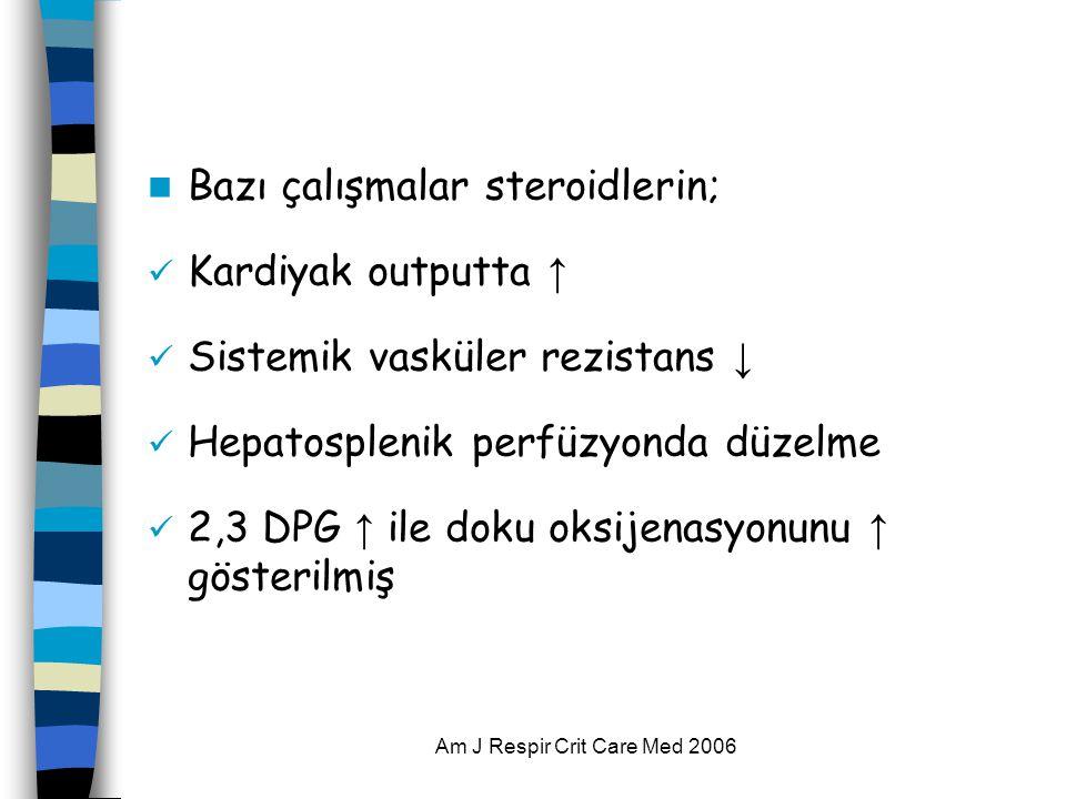 Am J Respir Crit Care Med 2006  Bazı çalışmalar steroidlerin;  Kardiyak outputta ↑  Sistemik vasküler rezistans ↓  Hepatosplenik perfüzyonda düzelme  2,3 DPG ↑ ile doku oksijenasyonunu ↑ gösterilmiş