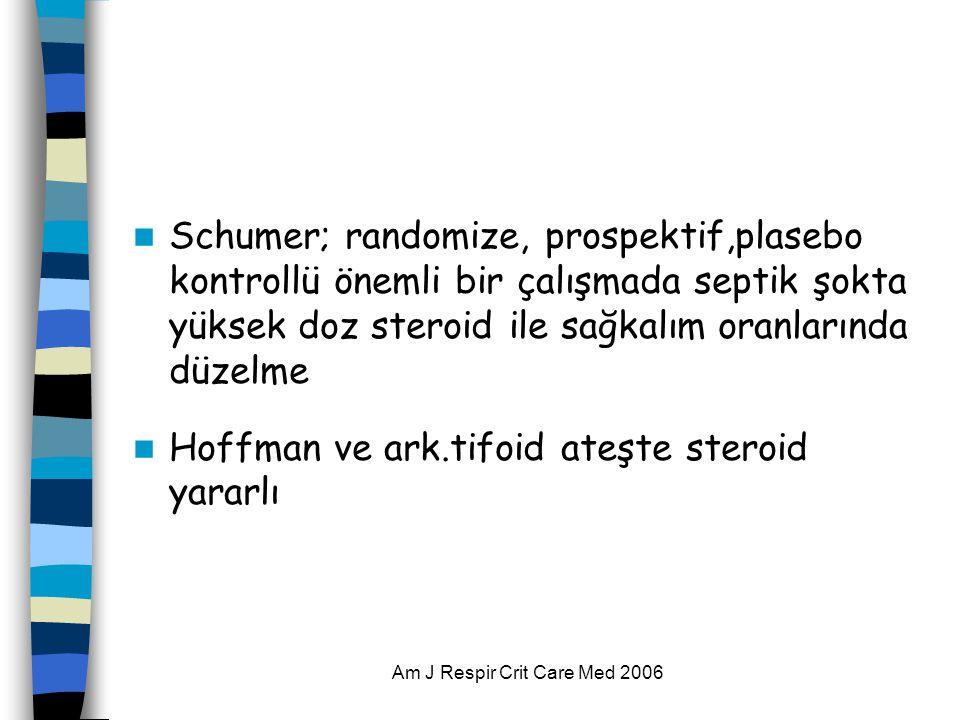 Am J Respir Crit Care Med 2006  Schumer; randomize, prospektif,plasebo kontrollü önemli bir çalışmada septik şokta yüksek doz steroid ile sağkalım oranlarında düzelme  Hoffman ve ark.tifoid ateşte steroid yararlı