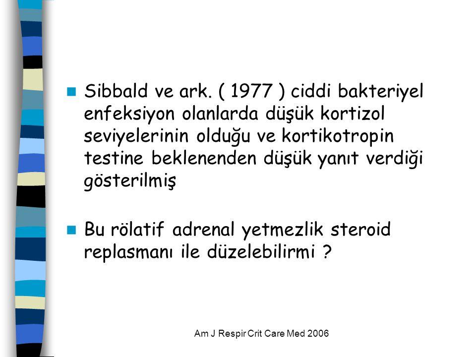 Am J Respir Crit Care Med 2006  Sibbald ve ark. ( 1977 ) ciddi bakteriyel enfeksiyon olanlarda düşük kortizol seviyelerinin olduğu ve kortikotropin t