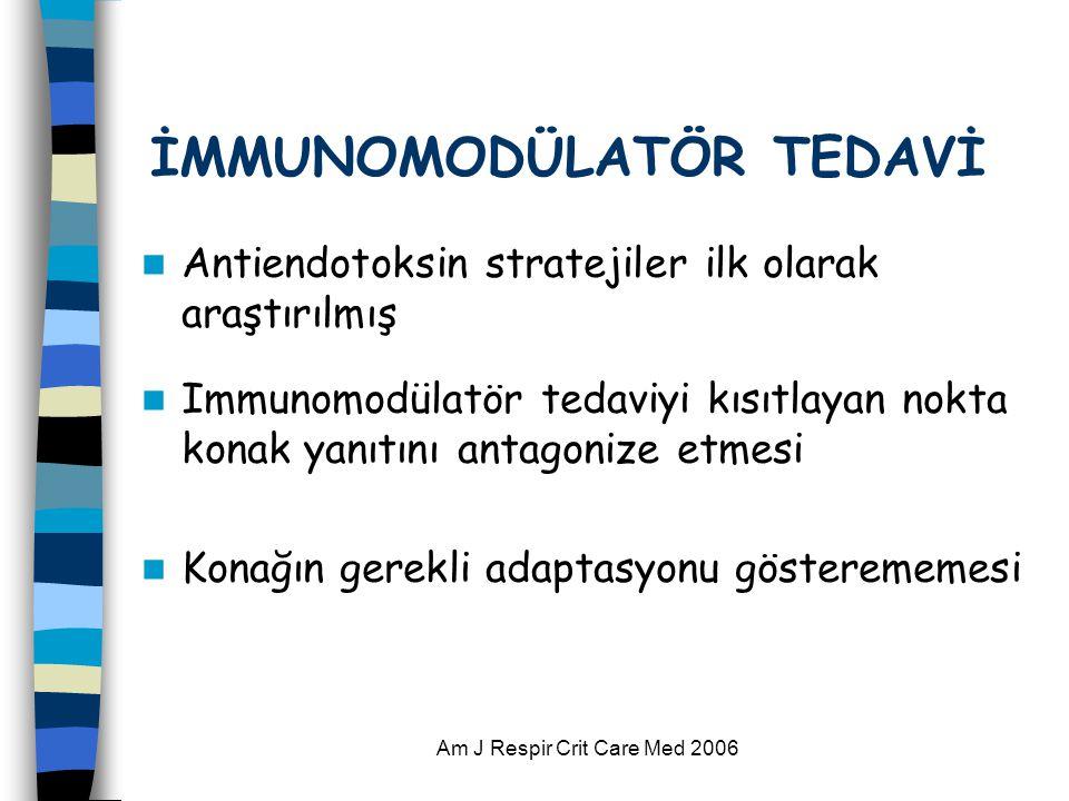 Am J Respir Crit Care Med 2006 İMMUNOMODÜLATÖR TEDAVİ  Antiendotoksin stratejiler ilk olarak araştırılmış  Immunomodülatör tedaviyi kısıtlayan nokta konak yanıtını antagonize etmesi  Konağın gerekli adaptasyonu gösterememesi