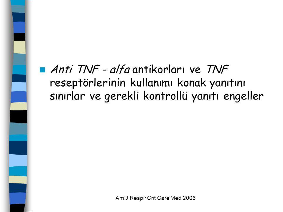  Anti TNF - alfa antikorları ve TNF reseptörlerinin kullanımı konak yanıtını sınırlar ve gerekli kontrollü yanıtı engeller