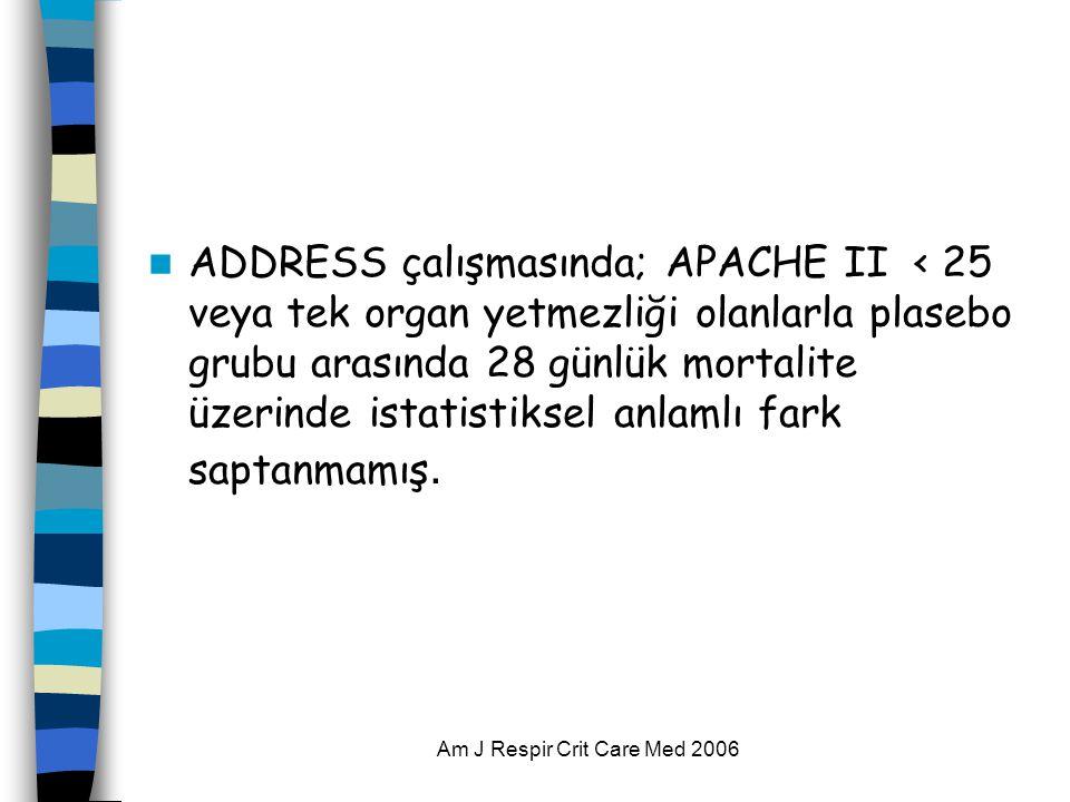 Am J Respir Crit Care Med 2006  ADDRESS çalışmasında; APACHE II < 25 veya tek organ yetmezliği olanlarla plasebo grubu arasında 28 günlük mortalite ü