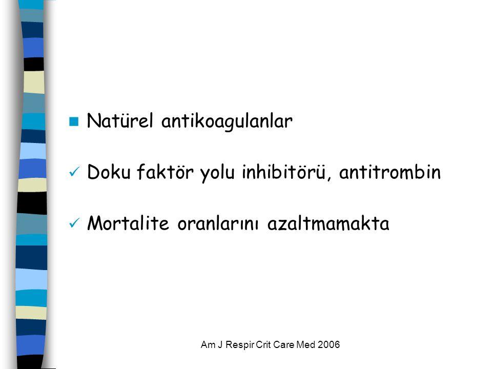 Am J Respir Crit Care Med 2006  Natürel antikoagulanlar  Doku faktör yolu inhibitörü, antitrombin  Mortalite oranlarını azaltmamakta