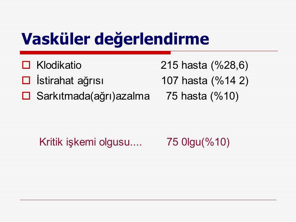 Vasküler değerlendirme  Klodikatio 215 hasta (%28,6)  İstirahat ağrısı 107 hasta (%14 2)  Sarkıtmada(ağrı)azalma 75 hasta (%10) Kritik işkemi olgus