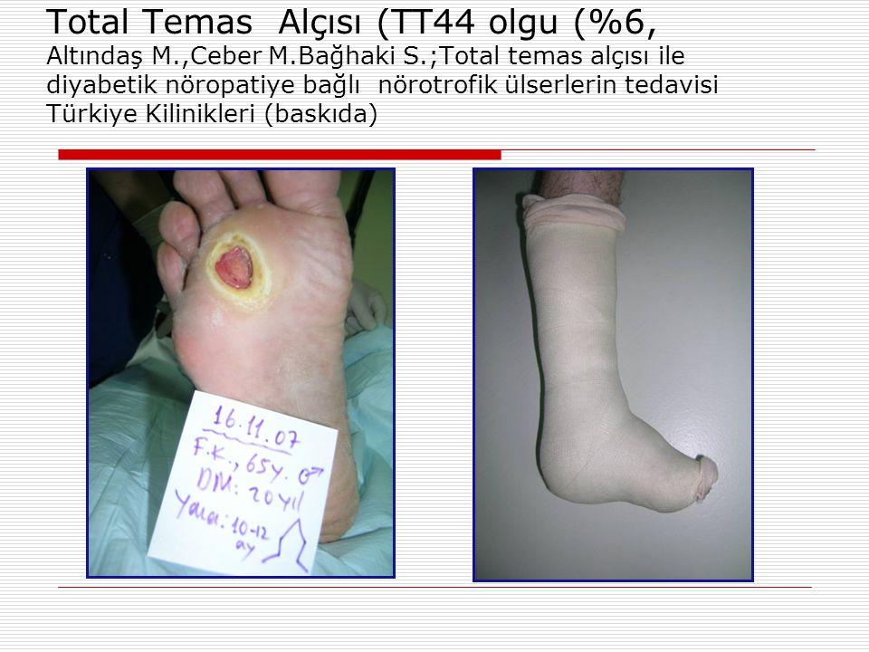 Total Temas Alçısı (TT44 olgu (%6, Altındaş M.,Ceber M.Bağhaki S.;Total temas alçısı ile diyabetik nöropatiye bağlı nörotrofik ülserlerin tedavisi Tür