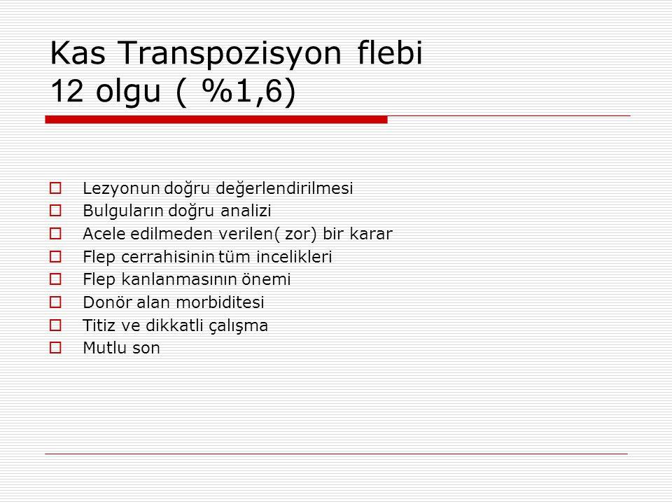 Kas Transpozisyon flebi 12 olgu ( %1, 6 )  Lezyonun doğru değerlendirilmesi  Bulguların doğru analizi  Acele edilmeden verilen( zor) bir karar  Fl