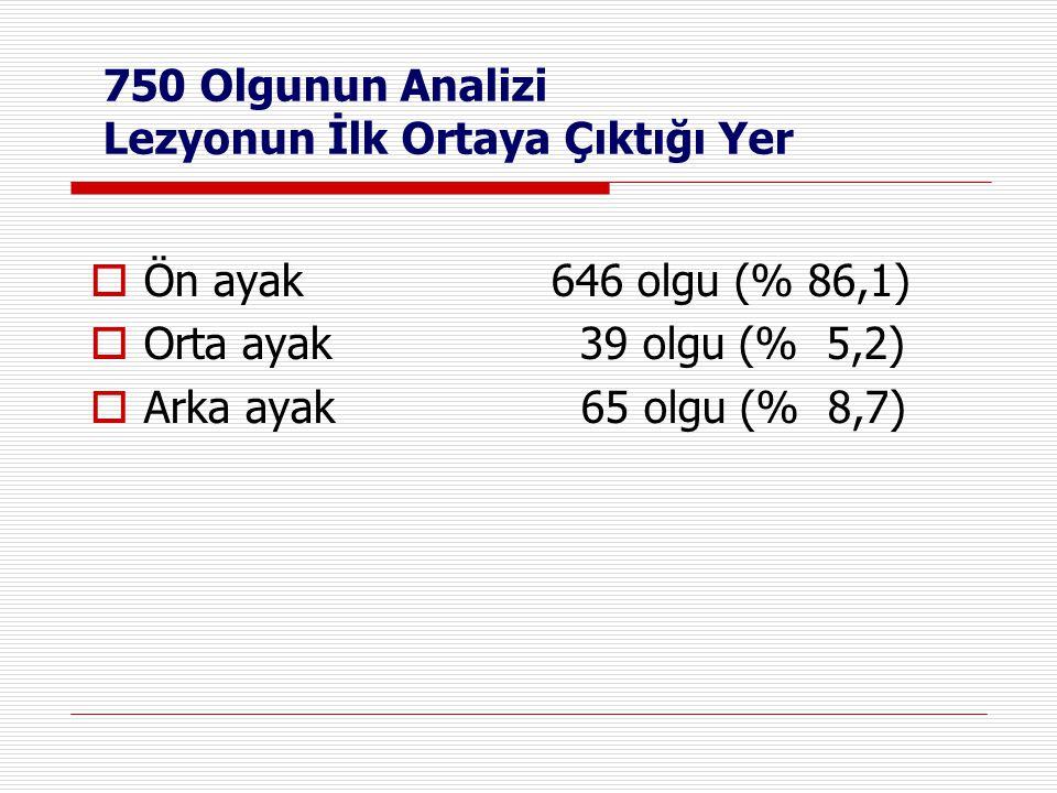 750 Olgunun Analizi Lezyonun İlk Ortaya Çıktığı Yer  Ön ayak 646 olgu (% 86,1)  Orta ayak 39 olgu (% 5,2)  Arka ayak 65 olgu (% 8,7)