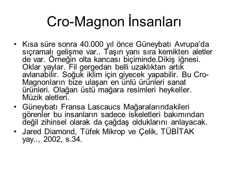 Cro-Magnon İnsanları •Kısa süre sonra 40.000 yıl önce Güneybatı Avrupa'da sıçramalı gelişme var.. Taşın yanı sıra kemikten aletler de var. Örneğin olt