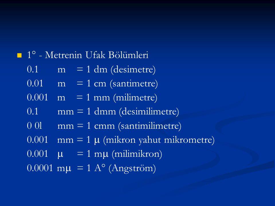  1° - Metrenin Ufak Bölümleri 0.1 m = 1 dm (desimetre) 0.01 m = 1 cm (santimetre) 0.001 m = 1 mm (milimetre) 0.1 mm = 1 dmm (desimilimetre) 0 0l mm