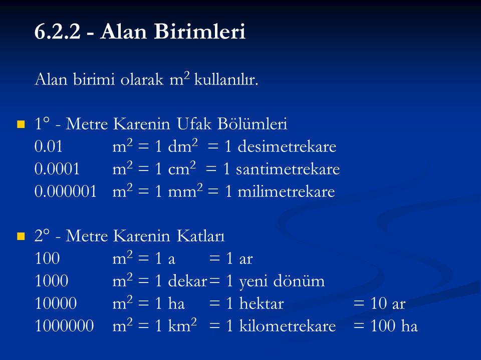 6.2.2 - Alan Birimleri Alan birimi olarak m 2 kullanılır.   1° - Metre Karenin Ufak Bölümleri 0.01m 2 = 1 dm 2 = 1 desimetrekare 0.0001m 2 = 1 cm 2