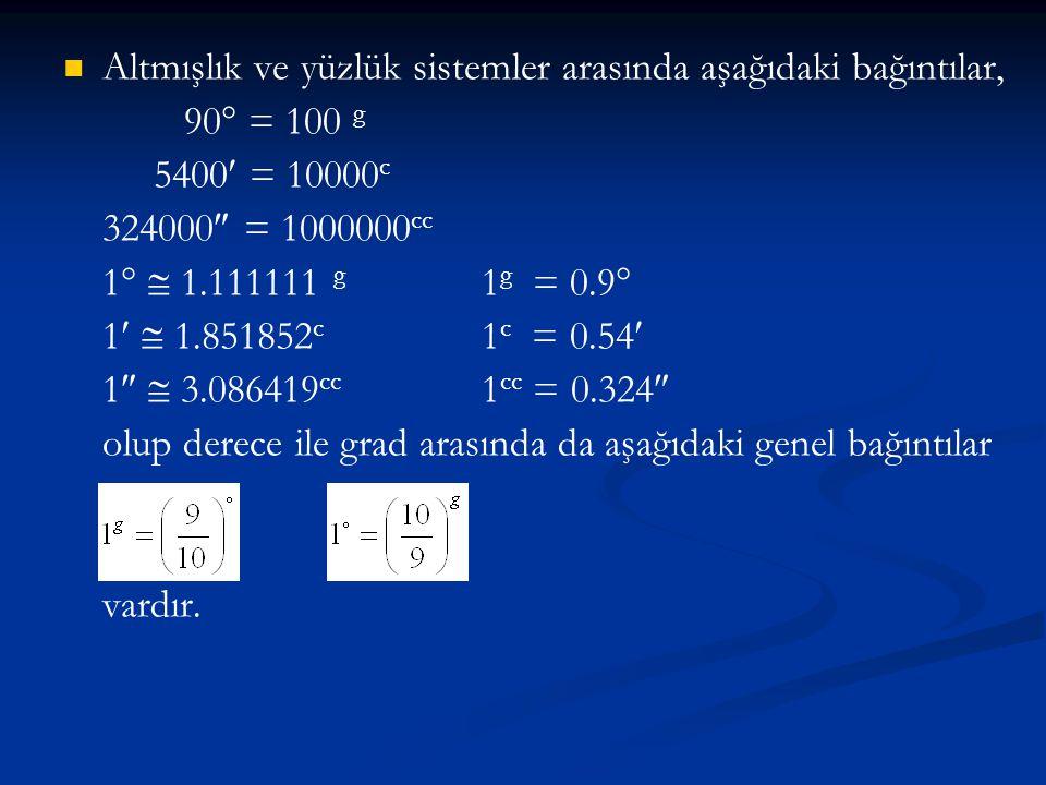   Altmışlık ve yüzlük sistemler arasında aşağıdaki bağıntılar, 90  = 100 g 5400 = 10000 c 324000  = 1000000 cc 1   1.111111 g 1 g = 0.9  1  1.