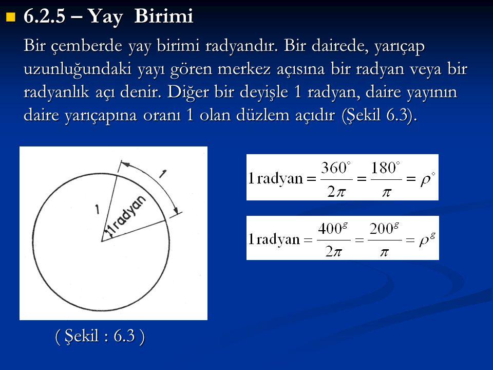  6.2.5 – Yay Birimi Bir çemberde yay birimi radyandır. Bir dairede, yarıçap uzunluğundaki yayı gören merkez açısına bir radyan veya bir radyanlık açı
