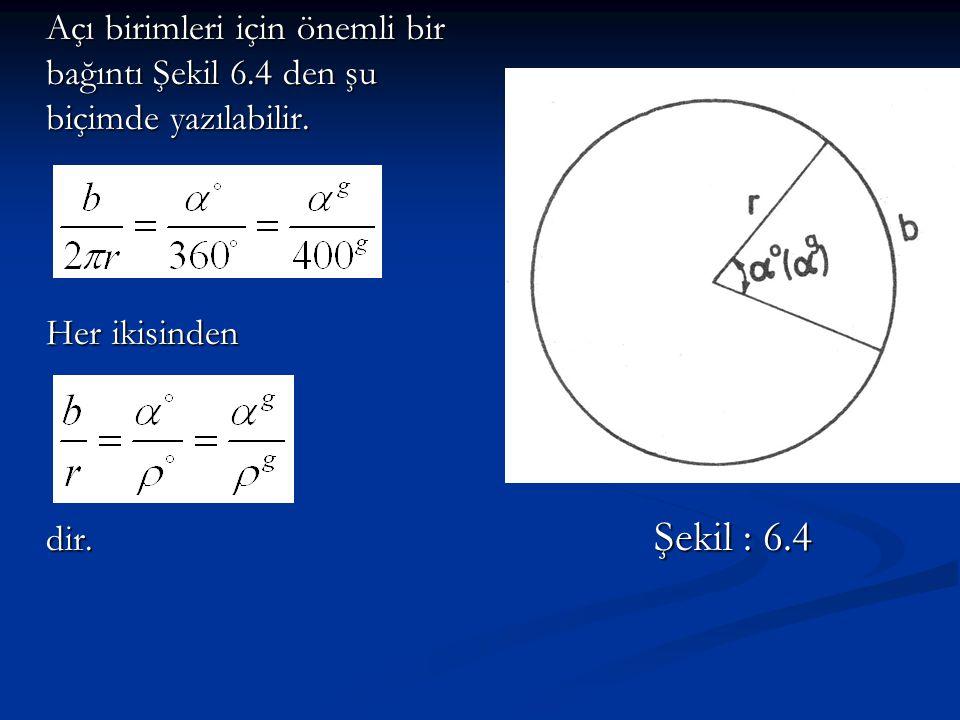 Açı birimleri için önemli bir bağıntı Şekil 6.4 den şu biçimde yazılabilir. Her ikisinden dir. Şekil : 6.4